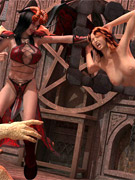 Horny demoness with horns and whip and her huge assistant orc torturing an encaged slave girl