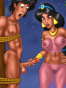 Porn aladdin gets roped to the tree to allow jasmine to play with his snake