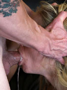 Bitch is doing impossible, namely doing blowjob with peg on the mouth