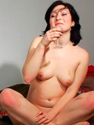 Flirty drunken brunette eats banana then gets a big cock in her mouth and ass