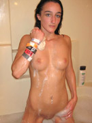 Tattooed tipsy brunette pampered by her boy