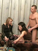 One lucky guy fucks two horny groggy milfs for his birthday