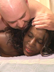 Black girl gets her nasty snatch stretched with a white cock and creampied