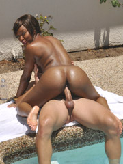 Kya is a bubbly black whore gagging on white cock
