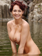 Luscious brunette alisa cage shows off her mouthwatering body in the nude