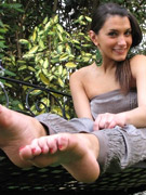 Alluring tall beauty teases with her lovely feet and delectable toes