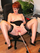 Horny milf in black stockings gets her cunt drilled hard in doggy style by a sybian