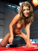 Busty babe squirts from using mechanical fucking machines. tags: women fucking machines, fucking machines, busty babe, squirting, sex