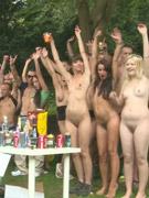 Sex starving perverted couples having rough group sex party outdoors.
