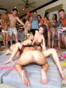 Two chicks pounded badly by a group of horny guys