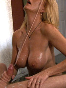 Laced and glaced for cock caressing job from a blondie