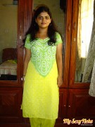 Neha in green and yellow indian shalwar suit