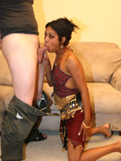 Busty indian slut in a mask jumping on a stiff rod passionately