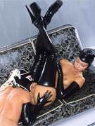 Two stunning lesbian girlfriends in sexy latex outfit have a great pussy licking fun on a cam.