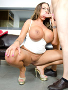 Busty latina gets atoy in her ass and cock deep inside her twat.