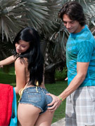 Slim latin teen in denim shorts seduced a stranger a fucked him on the grass.