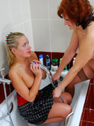 Raunchy, erotic interaction between two lusty blondes.