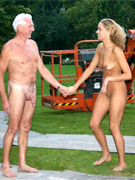 Lustful bald old boy pleasing fresh blonde's body before pounding her cooch hard