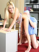 Curly mom in stockings and her young friend pretend two stewardesses to please a guy