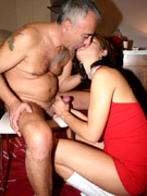 Old boy with a very stiff rod screws it into lovely brunette's cooch on the floor