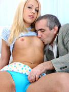 Hairy gray old boy loves cool chicks a lot so he screws his boner into blonde's snatch