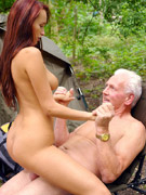 Little girl with big tits trying to sell cookies gets fucked in her pussy and mouth by old dude