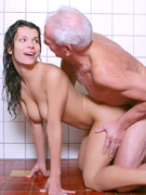 Slim girl opening her box for the graying man enjoying his tongue and boner