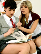 Dirty pigtailed school girl in the uniform and stockings swallows hot sperm after banging with her old teacher
