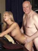 An old horny senior fucks a cute blonde hardcore indoors