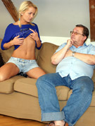 Horny grandpa releases his big boner on a blonde hottie