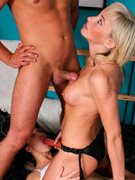 Teenage brunette babe gets dirty with a drunk senior stud