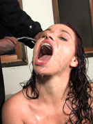 Mouth-plugged and bound, she couldn't resist men pissing in any way