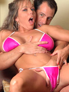 Amber gives her hunky pool boy a cum oozing blowjob while her hubby is clueless.