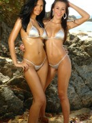 Karla and her girlfriend get wet by the beach