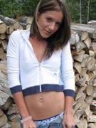 Fantastic brunette teen melissa doll teasing with her body