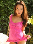 Miko in a sexy pink lace dress