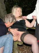 Blonde nymph with awesome tits gets plowed from behind in the park.