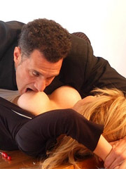 Loan sharks show up at ned's house, and when he can't pay up, they tie him down and fuck his wife right before his eyes. cuckolding, double penetratio
