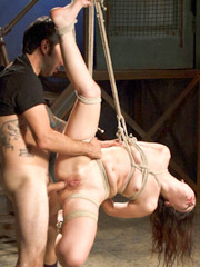 Hot brunette gets clothes ripped off and a savage fuck job by stud