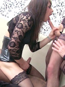 Tranny in latex fucks stud after bj in chair