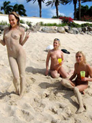 Six lesbian pornstars drunk and out of control on a public beach