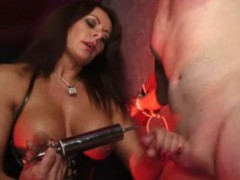 Wild busty mistress in a latex corset whipping her roped to cross slave in a mask and gets high in the coolest bdsm porn movie