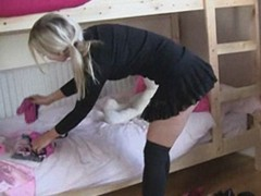 Hot xxx film with nasty college girl in a jacket and leggings with a hole demonstrating her lovely forms on the bridge