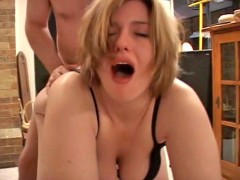 Horny blonde housewife and her brunette young friend in dirty threesome.