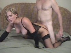 Awesome housewife in tight undies gets undressed and banged doggy dtyle.