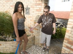 Dark haired spain babe luchy had a great fuck with a stranger follwed by huge cum shower.