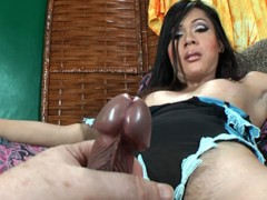 Beautiful brunette shemale with huge cock