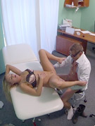 Kinky doctor in glasses licking his patient's sweet twat