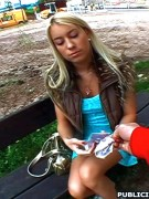 Shy busty teen giving an awesome blowjob to the lucky guy on the street.